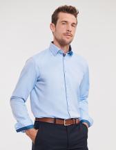 Men`s Long Sleeve Tailored Contrast Herringbone Shirt